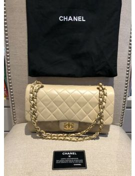 """Chanel Classic Double Flap Bag Chain 2.55 Beige Quilted Lambskin Ghw 10"""" Medium by Ebay Seller"""