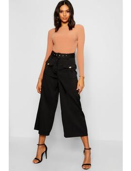 Belted Utility Pocket Button Culottes by Boohoo