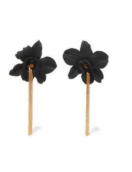 black-orchid-gold-vermeil-and-silk-earrings by mallarino
