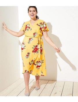 Loft Plus Floral Flutter Wrap Dress by Loft