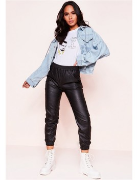 Han Black Faux Leather Cuffed Trousers by Missy Empire