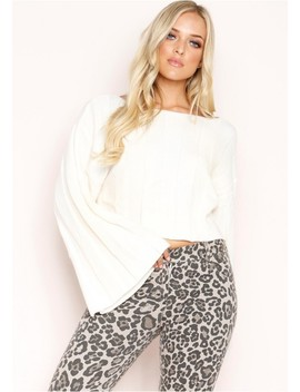 Tania Cream Knit Wide Sleeve Jumper by Missy Empire
