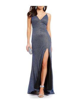 Glitter Knit Metallic Long Dress by Dear Moon
