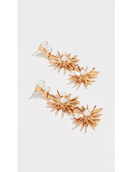 Classic Swarovski Crystal Pearl Starburst Earrings by Oscar De La Renta