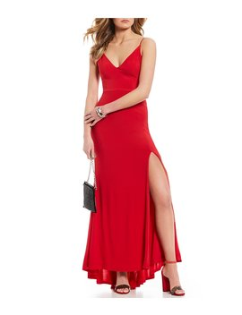 V Neck Strappy Side Long Dress by Jump