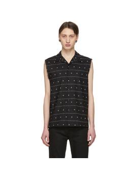 Black & White Sleeveless Shirt by Saint Laurent