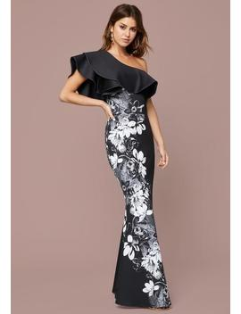 One Shoulder Ruffle Gown by Bebe