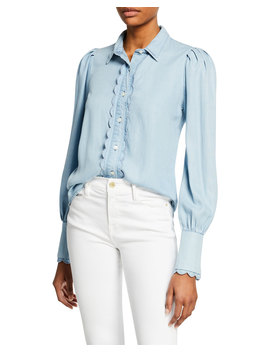 Scalloped Button Front Denim Top by Frame
