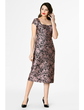 Sweetheart Floral Jacquard Sheath Dress by Eshakti