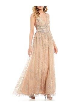 Triple Beaded Waist Glitter Pattern Ballgown by Blondie Nites