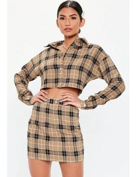 Camel Soft Check Button Front Mini Skirt by Missguided