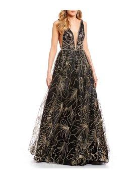 Social Floral Glitter Skirt Ballgown by Gb