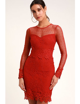 Lacey Lane Red Lace Long Sleeve Dress by Lulus