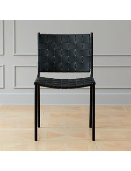 Woven Black Leather Dining Chair by Crate&Barrel