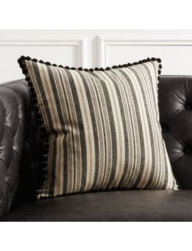 "18"" Roulou Black And White Pom Pom Pillow by Crate&Barrel"