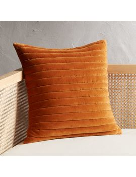 "18"" Channeled Copper Velvet Pillow by Crate&Barrel"