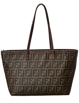 Fendi Brown Zucca Canvas Roll Bag by Fendi