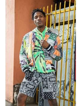 Satin Bandana Print Bomber Jacket by Forever 21