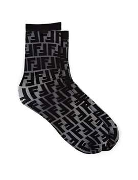 Logo Sheer Mid Calf Socks by Fendi