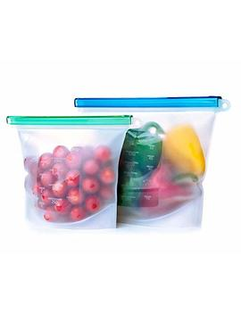 Hkkm Reusable Silicone Food Bags   Upgraded Set Of 2 (1 Large & 1 Small)   Airtight Zip Seal Liquid Leak Proof, Keep Your Food, Sandwich Fresh. For Food Storage Lunch Snack Sous Vide Cooking Freezer by Hkkm