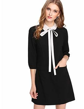 Floerns Women's Tie Neck Peter Pan Collar 3/4 Sleeve Shirt Dress Pockets by Floerns
