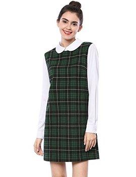 Allegra K Women's Contrast Peter Pan Collar Long Sleeve Shift Plaid Dress by Allegra K