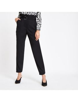 Black Paperbag Tapered Pants by River Island