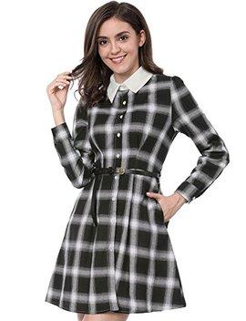 Allegra K Women's Contrast Collar Button Down Belted Check Plaid Shirt Dress by Allegra K
