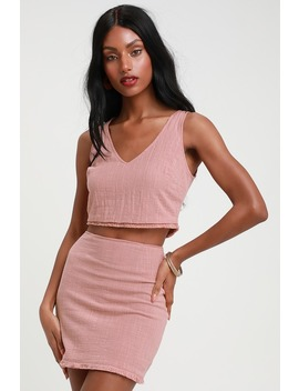 Beautiful You Mauve Pink Two Piece Dress by Lulus