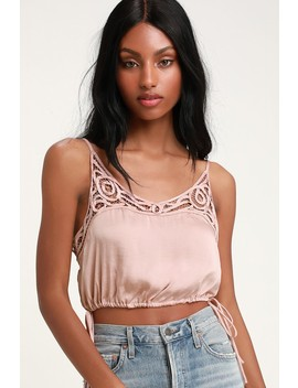 Blouson Pink Satin Crochet Lace Cropped Tank Top by Free People