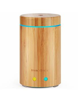 Inno Gear Upgraded Real Bamboo Essential Oil Diffuser Ultrasonic Aroma Aromatherapy Diffusers Cool Mist Humidifier With Intermittent Continuous Mist 2 Working Modes Waterless Auto Off 7 Color Led Light by Inno Gear
