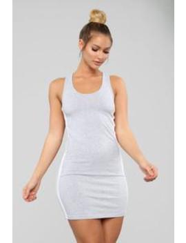 Finish Line Dress   Heather Grey/White by Fashion Nova