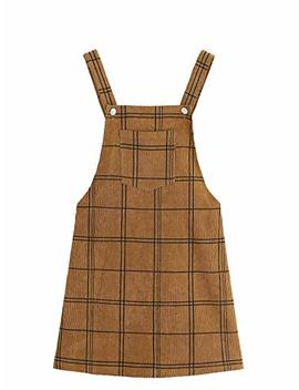 Floerns Women's Cute Strap Button Up Corduroy Overall Sheath Pinafore Dress by Floerns