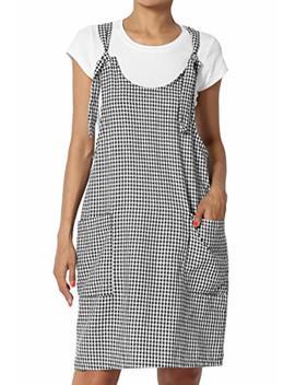 The Mogan Junior's Gingham Check Linen Blend Woven Overall Mini Dress by The Mogan