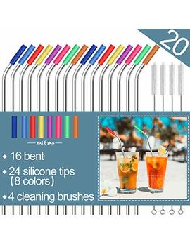 """Stainless Steel Straws,Set Of 16 10.5"""" Fda Approved Reusable Drinking Straws For 30oz&20oz Tumblers Cups Mugs,Metal Straws With 24 Soft Food Grade Silicone Tips,4 Cleaning Brushes (16 Bent) by Mutnitt"""