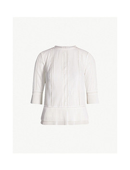Erika Lace Trimmed Crepe Top by Reiss