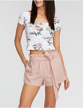 Linen Front Tie Paperbag Shorts by Charlotte Russe