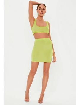Lime Disco Scoop Neck Bralet by Missguided