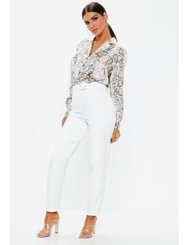 Petite White Belted Cigarette Trousers by Missguided