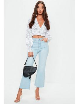 White Polka Dot Crop Top by Missguided