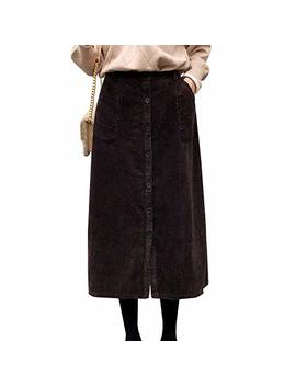 Flygo Women's Elastic Waist Button A Line Corduroy Midi Long Skirt With Pockets by Flygo