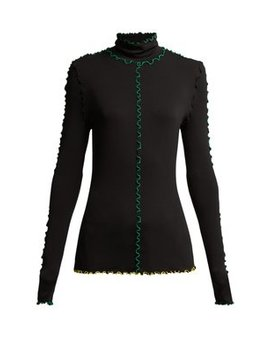 Fine Turtle Neck Top With Colour Block Seam Detail by Proenza Schouler