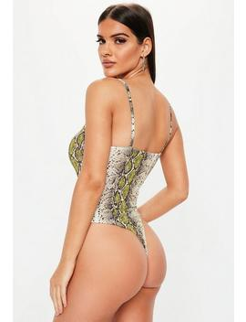 Nude Snake Print Square Neck Bodysuit by Missguided