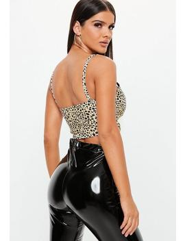 Nude Leopard Underbust Bralet by Missguided