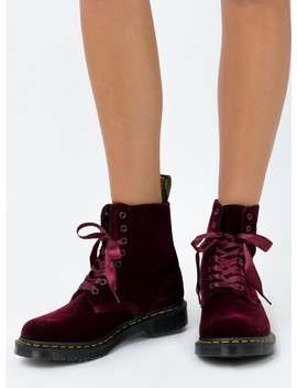 Dr. Martens 1460 Pascal Velvet Cherry Red Boots by Dr Martens