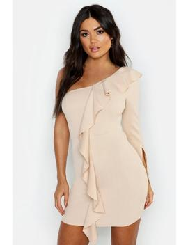 One Sleeve Ruffle Detail Bodycon Dress by Boohoo