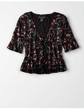 Ae Double Tie Front Tee by American Eagle Outfitters