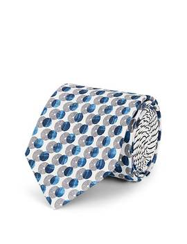 Overlapping Circle Print Silk Faille Necktie by Prada
