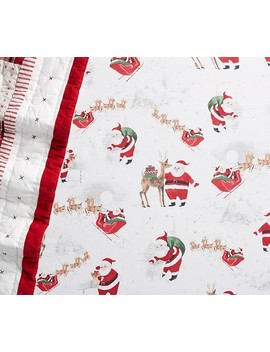 Organic Flannel Heritage Santa Crib Fitted Sheet by Pottery Barn Kids