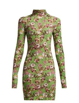 Floral Print Long Sleeved Mini Dress by Vetements